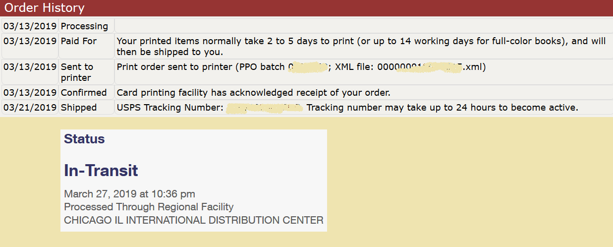 Parcel tracking history showing 8 days from payment to printed, and another 6 days before being internationally shipped.